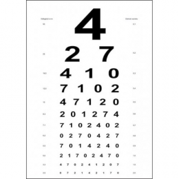Tablica okulistyczna Snellena - litery / cyfry