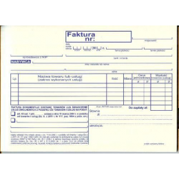Druki - Faktura dla czynności zwolnionych z podatku