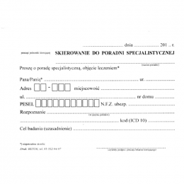 Druki - Skierowanie do poradni specjalistycznej (A6)